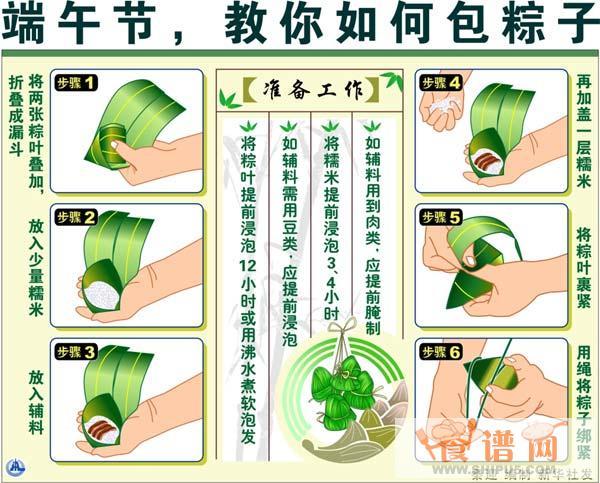 教你如何包粽子 粽子包法图解   包粽子请留心以下几点:   粽叶的选用:广州人包粽子多用箬叶,选表面光滑软韧的较好.